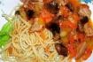 Рецепт. Мясо с грибами в томатной подливе