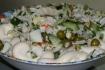 Рецепт. Салат из пекинской капусты, огурцов и зелёного горошка