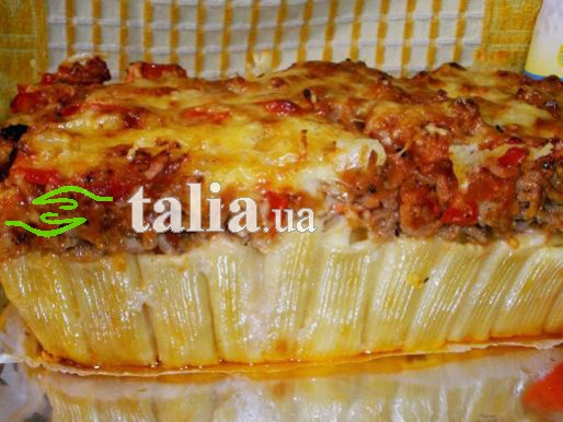 Рецепт. Бабка. Запеканка из макарон с мясным фаршем
