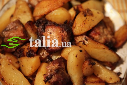 Рецепт. Жареная картошка с мясом ''по-селянски''