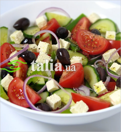 Рецепт. Греческий салат с брынзой