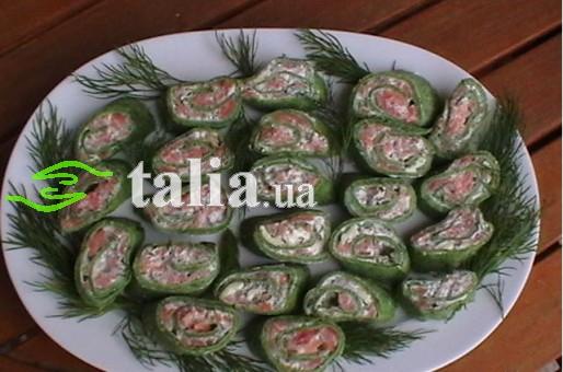 Рецепт. Блинчики со шпинатом фаршированные рыбой