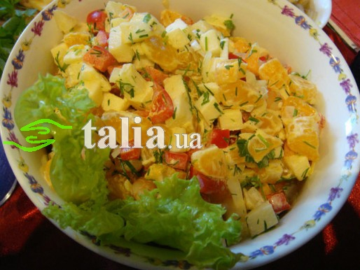 Рецепт. Постный салат с креветками и мандаринами