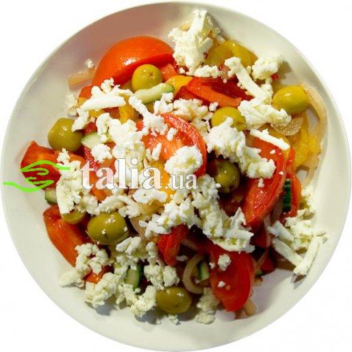 Рецепт. Салат ''Шопский'' с брынзой и оливками