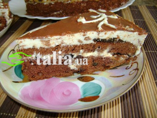 Рецепт. Торт с черносливом в шоколадной глазури
