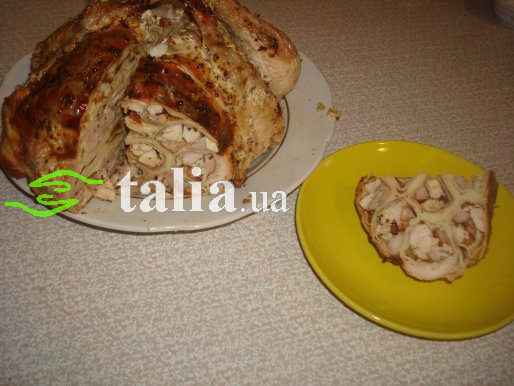 Рецепт. Курица фаршированная блинами