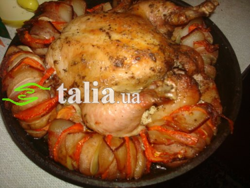 Рецепт. Запеченная курица с картошкой