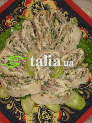 Рецепт. Закуски из лаваша из рыбы
