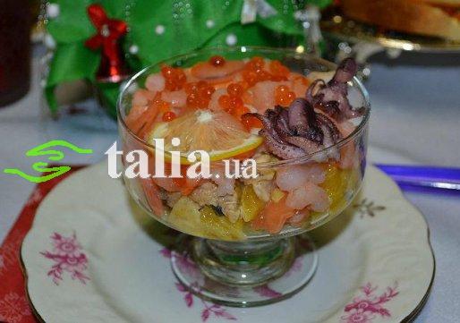 Рецепт. Салат из морепродуктов ''Морской коктейль''