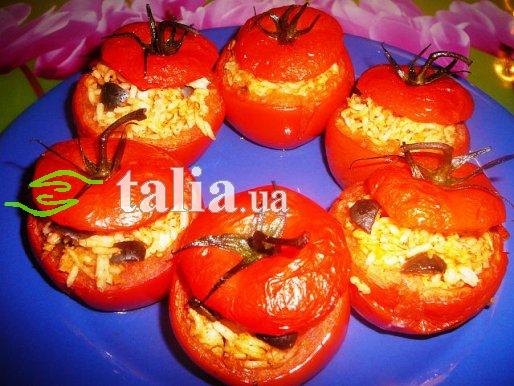 Рецепт. Помидоры запеченные с рисом и грибами