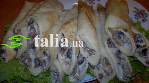 Рецепт. Блины с грибами и мягким сыром