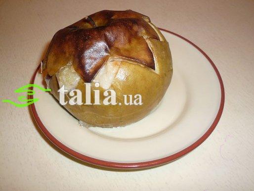 Рецепт. Печеные яблоки с творогом и изюмом