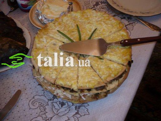 Рецепт. Торт из курицы с грибами