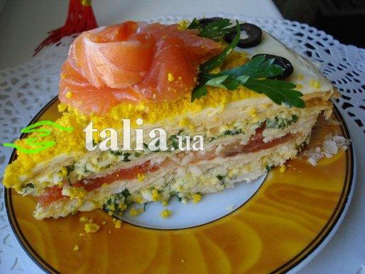 Рецепт. Закусочный пирог с яйцами и семгой (торт)