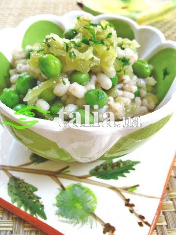 Рецепт. Перловая каша с соленым огурцом и мятой