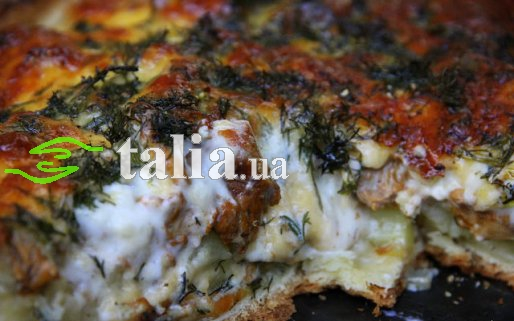 Рецепт. Пирог с грибами лисичками