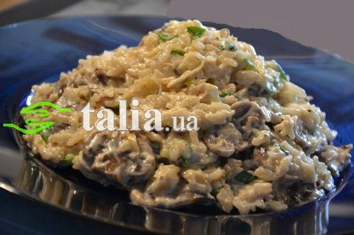 Рецепт. Рис с грибами и сыром маскарпоне