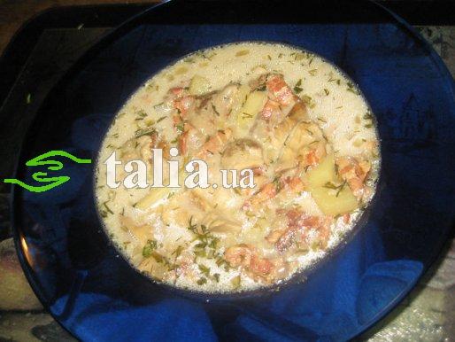 Рецепт. Грибной суп с беконом
