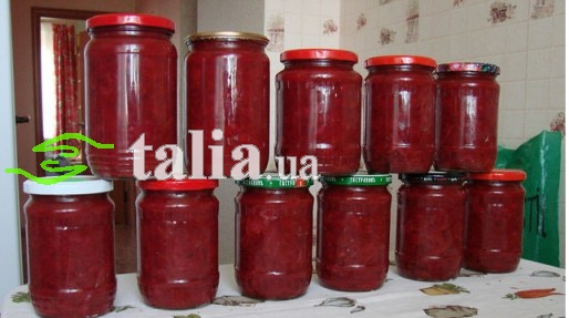 Рецепт. Борщ на зиму с помидорами