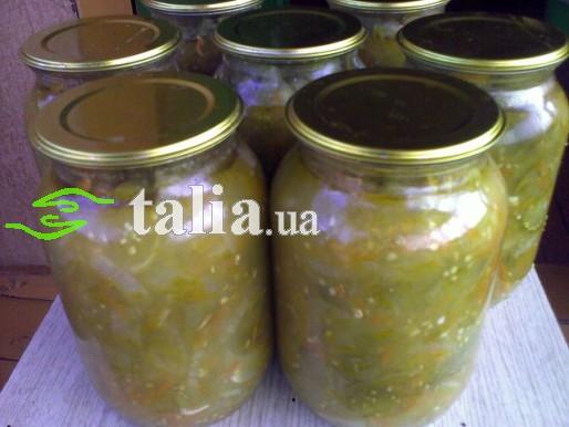 Рецепт. Салат из зеленых помидор