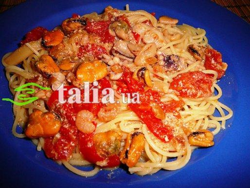 Рецепт. Спагетти с морепродуктами