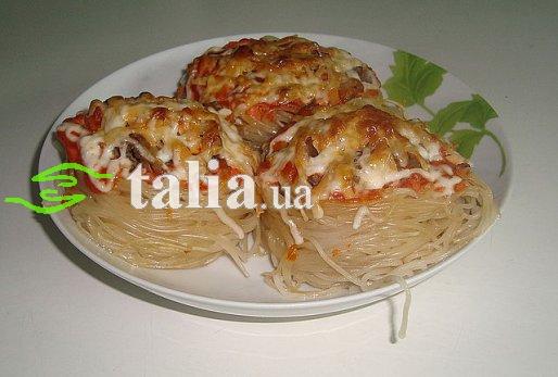 Рецепт. Спагетти с сыром и мясом запеченные