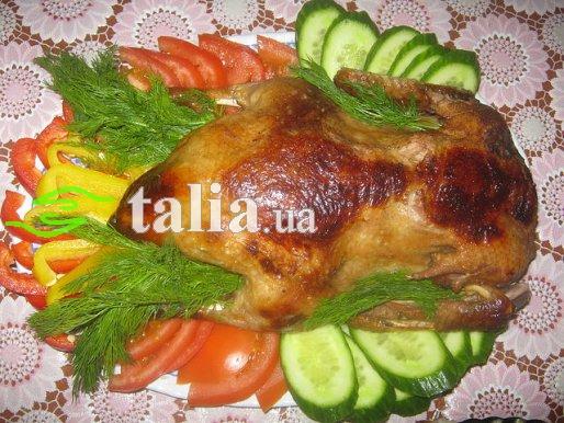 Рецепт. Утка в духовке запеченная в рукаве с айвой