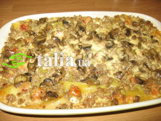 Рецепт. Лазанья с грибами и говяжьим фаршем