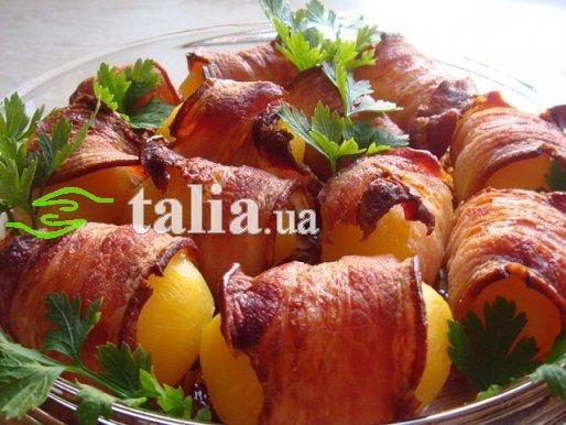 Рецепт. Печеная картошка в беконе в духовке