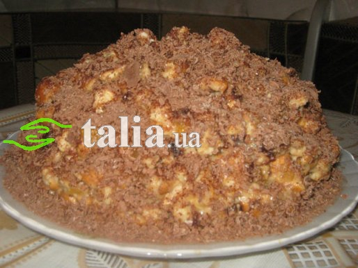 Рецепт. Торт из печенья с курагой и черносливом