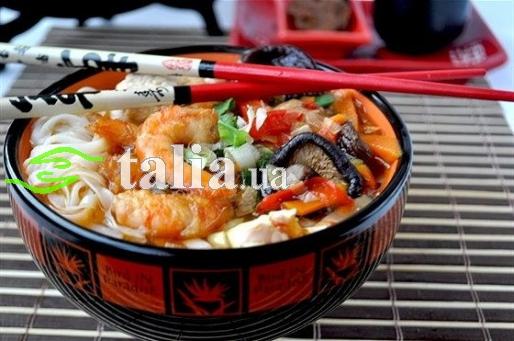 Рецепт. Тайский суп с морепродуктами