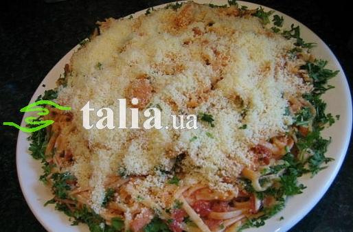 Рецепт. Паста с креветками и беконом