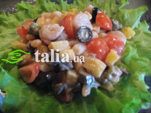 Рецепт. Салат с манго и креветками