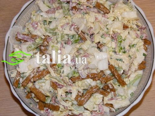 Рецепт. Салат пекинская капуста с салями