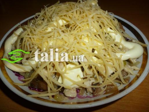 Рецепт. Салат ''Жульен'' с курицей и грибами
