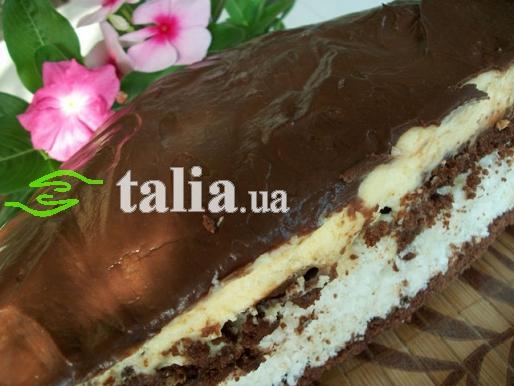 Рецепт. Торт ''Баунти'' с шоколадной глазурью
