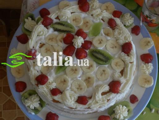 Рецепт. Торт с фруктами и сметанным кремом