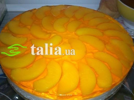 Рецепт. Торт суфле с творогом и персиками