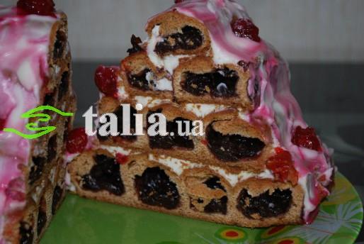 Рецепт. Торт ''Зимняя вишня'' с сметанным кремом