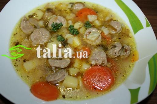 Рецепт. Суп с сосисками и суповым набором