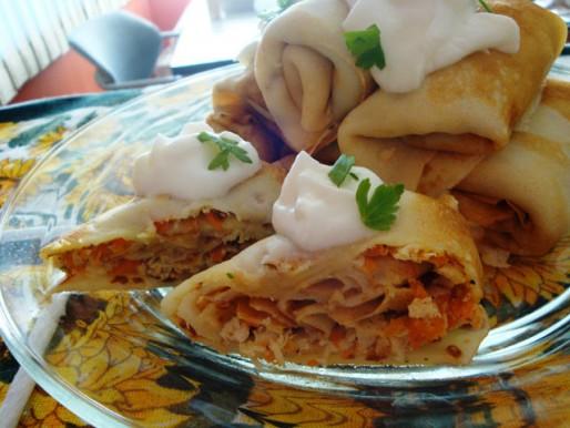 Рецепт. Блинчики с мясом и морковью