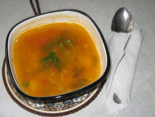 Рецепт. Постный суп с красной чечевицей