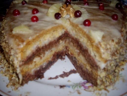 Рецепт. Постный торт с ананасовым кремом