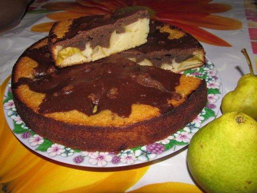 "Рецепт. Пирог с грушами ""Мраморный"""