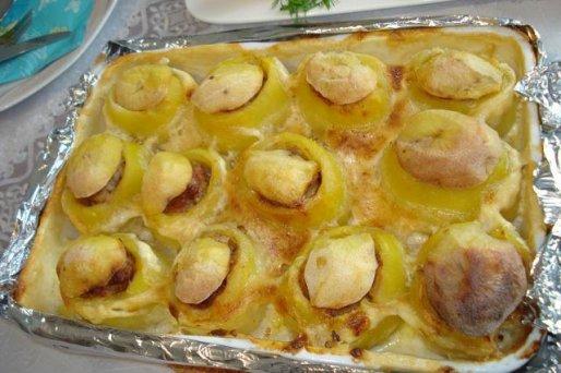 Рецепт. Фаршированный картофель с фаршем в фольге