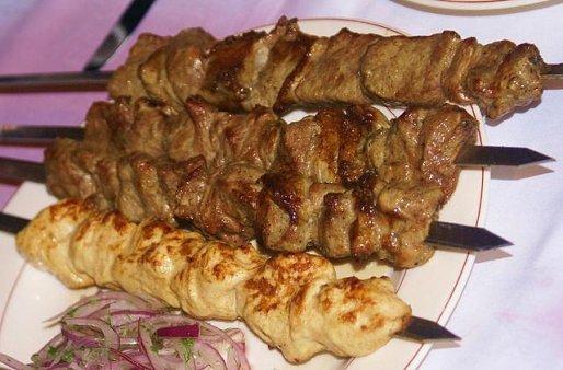 Рецепт. Шашлык из говядины с помидорами