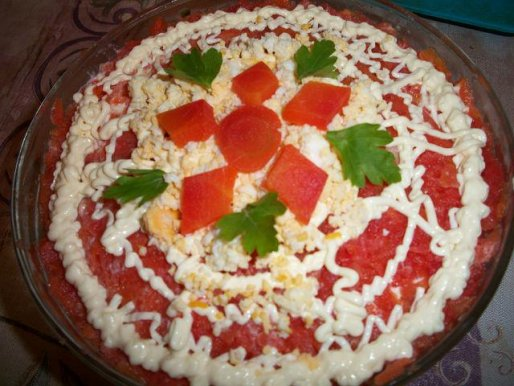 Рецепт. Салат печень трески