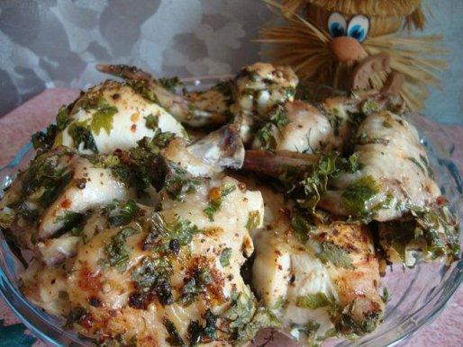 Рецепт. Курица в пиве с зеленью