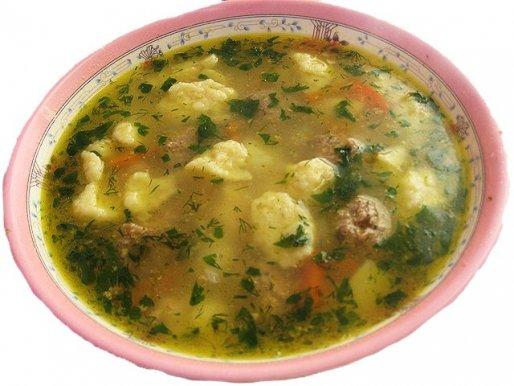 Рецепт. Суп с галушками (клецками)