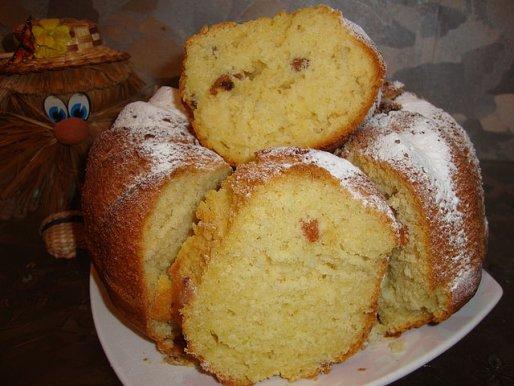Рецепт. Пирог на сметане с изюмом и шафраном
